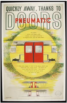 Quickly away, thanks to Pneumatic Doors. Colour lithograph poster promoting the introduction of pneumatic doors on the London Underground. Designed by László Moholy-Nagy and issued by the London Passenger Transport Board, England, 1937.