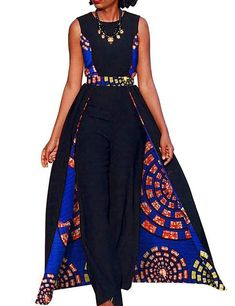 African Design Bazin Summer Elegant Womens Rompers Jumpsuit Sleeveless Rompers Jumpsuit Long Dashiki Pants Plus Size BRW African Fashion Designers, African Print Fashion, Africa Fashion, African Fashion Dresses, Fashion Outfits, African Outfits, Fashion Hacks, Fashion Styles, African Clothes