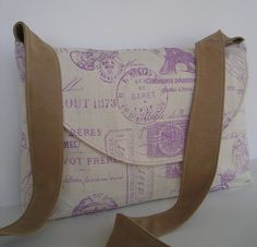Messenger Bag / Crossbody Bag in French Stamp by jazzygeminis, $30.00
