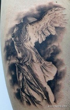 Nike of Samothrace Tattoo. I saw this sculpture in my Art History textbook and…