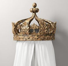 Gilt Canopy Bed Crown from RH Baby & Child. Shop more products from RH Baby & Child on Wanelo. Royal Baby Rooms, Royal Baby Nurseries, Royal Nursery, Girl Nursery, Nursery Ideas, Bedroom Ideas, Bedroom Decor, Disney Princess Bedding, Princess Room