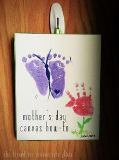 she turned her dreams into plans: mothers day canvas how-to - Father's Day in 2019 Mothers Day Gifts Toddlers, Mothers Day Crafts For Kids, Crafts For Kids To Make, Mothers Day Cards, Toddler Gifts, Daycare Crafts, Baby Crafts, Preschool Crafts, Preschool Classroom