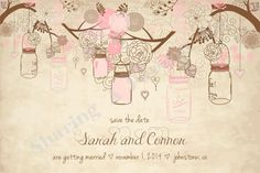 Mason Jar Save the Date - Mason Jar Bridal Invitations - Girl Baby Shower Invitation - Save the Date Card
