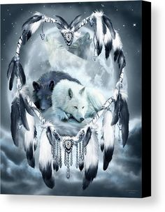 Dream Catcher - Yin Yang Wolf Mates 2 canvas print featuring the art of Carol Cavalaris.