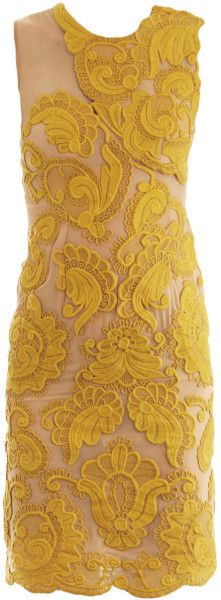 Stella Mccartney Yellow Steven Embroidered Silk Dress. I LOVE THIS COLOR!