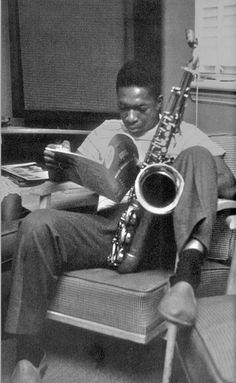 John Coltrane (jazz master) taking a relaxing break to read......