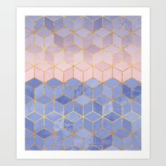 Rose Quartz & Serenity Cubes Art Print by Elisabeth Fredriksson. Worldwide shipping available at Society6.com. Just one of millions of high quality products available.