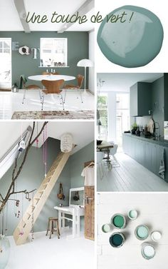 PAINT A WALL OF THE HOUSE IN GREEN. The many shades of this color bring freshness and reinvent the decor. With a touch of undeniable nature and simple to … Source by grimaudcarole Green House Design, Muebles Living, Diy Casa, Diy Room Decor, Home Decor, Home Staging, Interior Design Living Room, Colorful Interiors, House Colors