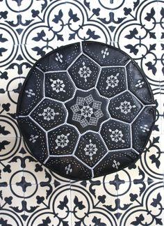 Moroccan Leather Tile Pouffe, Black & Silver