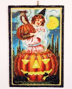 ~ Sweetie in JOL Owl Moon ~ glittered wood Halloween Ornament repro vtg card img
