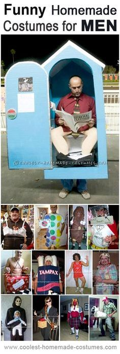 Top 13 DIY Funny Adult Halloween Costumes for Men From downright shocking to ROFL hilarious, these funny adult Halloween costumes will be the topic of water cooler conversations for days, or even week. Funny Homemade Costumes, Funny Couple Halloween Costumes, Adult Halloween, Funny Halloween Costumes, Holidays Halloween, Homemade Halloween, Funny Adult Costumes, Couple Costumes, Vintage Halloween