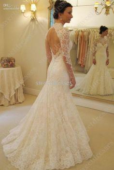 Vestidos de noiva High neck mermaid wedding dress vintage lace long sleeve Backless 2014 New Design JA451