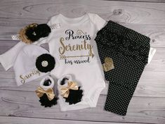 YOUR NAME OF CHOICE ON OUTFIT !! ****PLEASE leave the ONE name wanted printed in the box labeled additional note to seller before completing the checkout process**** ***5 piece set comes with everything pictured: onesie, pants, hat, headband and socks*** 4 piece set/hat comes