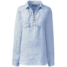 Lands' End Women's Petite Long Sleeve Lace Up Linen Shirt ($79) ❤ liked on Polyvore featuring tops, blue, blue top, blue long sleeve shirt, eyelet top, long sleeve tops and lace up shirt