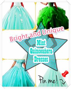 Quinceanera Guide - Mint Quinceanera Dresses In Autumn Shades. Pick out one of these Mint quinceanera dresses for the big day of yours! Mint Quinceanera Dresses, Young Female, Different Patterns, Big Day, Dress Up, Fancy, Disney Princess, Dress Ideas, Unique