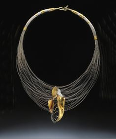 "Necklace | Margot diCono. ""Golden Mantis"". Bimetal 22k gold/sterling silver, 22k, 18k and 14k Gold, sterling silver wire, diamond."