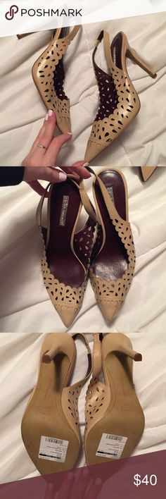 Nwt bcbg laser cut pointed toe slingbacks Brand new. Have never been worn. Sample that cannot be sold in stores. BCBGeneration Shoes Heels