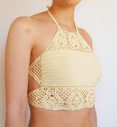 Light yellow crochet lace crop top. Backless festival top.