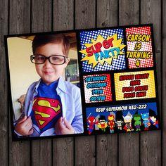superhero invitations, customized superhero invitation, comic invitation, customized, digital or printed with envelopes, superhero party