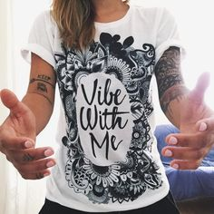 """""""Vibe With Me"""" high quality t-shirt is now available at PositiveSquad.com where everything is about positivity and good vibes! grab it now!"""