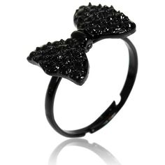 Adjustable Black Bowknot Rhinestone Finger Ring (1,612,175 SAR) ❤ liked on Polyvore featuring jewelry, rings, engagement rings, wedding rings, rhinestone rings, wedding band rings and adjustable rings