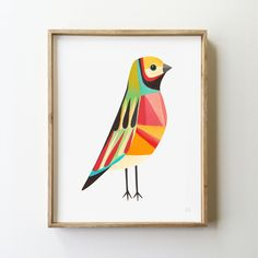 colorful finch with a retro feel to it, love it