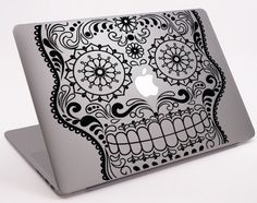 Mustache Sugar Skull Laptop Notebook Macbook  Decal 11 by Tapong, $8.99