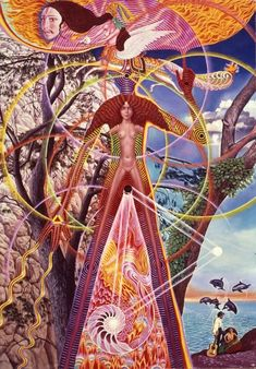 """Mati Klarwein, """"Astral Body Awake"""" (1969). This image was used as a the cover for a Ballantine Books edition of THE LOVERS by Philip Jose Farmer."""