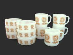 Federal Glass Sunflower 6 Bowls and 5 Cups Mugs Connoisseur Snack Set Milk Glass by PJsParadise on Etsy https://www.etsy.com/listing/122995229/federal-glass-sunflower-6-bowls-and-5