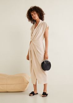 Draped neckline soft dress Summer Outfits 8e66fbf8b7022