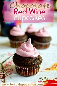 Chocolate Red Wine Cupcakes with Red Wine Buttercream Frosting (healthier)