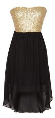 gold sparkly and black medium low dress ❤
