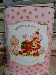 Vintage Strawberry Shortcake Waste Basket by silverliningtoys