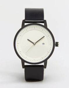 SWCO Earl Leather Watch In Black - Black by: Simple Watch Company @ASOS (US)