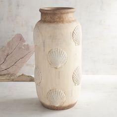 Scalloped Shell Vase Ivory