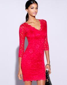 Lipsy lace long-sleeve overlay dress