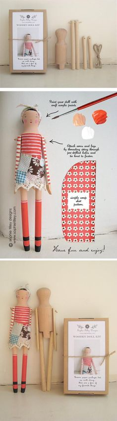 Haz tu muñeca Craft Stalls, Clothespin Dolls, Wooden Dolls, Waldorf Dolls, Fairy Dolls, Diy Doll, Wooden Diy, Doll Face, Miniature Dolls