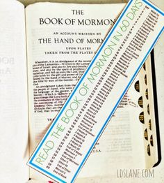 "Book-of-Mormon-bookmark read in 60 days *Great motivator to go with Virtue. Would love for leaders to join in and do it as a team with YW. ""Who would like to join me as I start my Book of Mormon reading"" Buddy system with a leader would be awesome. Help each other along and gain a stronger relationship as you take the time to ""share"" your insights."
