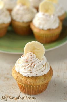Banana Cupcakes with Honey Cinnamon Frosting - I messed this one up... Or it wasn't a good recipe. Not positive which! - DC