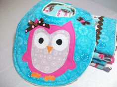 Owl Baby Girl Gift Set  Minky Burp Cloths and by PeaPodLilFrogs, $25.00 #owlbabybib #babygirlgift #owlburpcloth