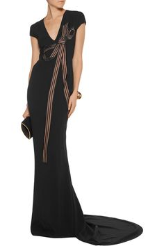 Stella McCartney Avril embroidered tulle-paneled crepe gown