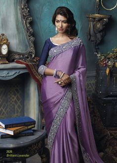 Satin Chiffon material lite purple color saree with broad dark purple embroidered border