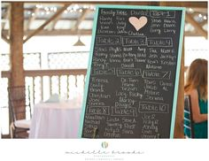 Chalkboard reception seating chart. Chelsea + Daniel's wedding at Lenora's Legacy Estate. Image credit: Michelle Brooks.