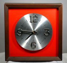 Waltham Mid Century Modern Square Wooden Wall Clock