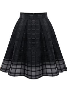 Black Zipper Plaid Pleated Chiffon Skirt pictures
