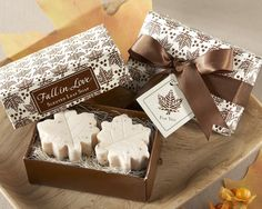 Autumn brings with it a sweet embrace all its own, and a fresh, natural fragrance that inspired these Fall in Love Scented Leaf Shaped Favor Soaps. You can't help but fall for the Fall in Love Scented Leaf Shaped Favor Soaps—a wedding favor that brings the exhilarating season right to your tables.