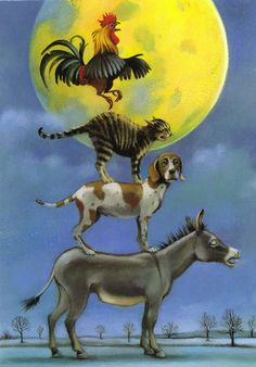 "The ""Bremer Stadtmusikanten"" (Bremen Town Musicians Antique Illustration, Children's Book Illustration, Bremen Musicians, Animal Gato, Beautiful Moon, Illustrations, Stars And Moon, Pet Birds, Folk Art"