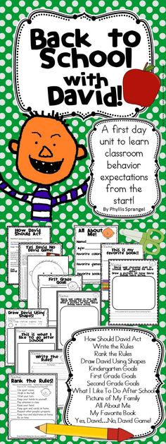 """Set a fun tone to your classroom! This unit uses David Shannon's """"David Goes to School"""" for its literature-based activities!  K-2"""