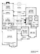 2046 sq ft - lots of potential... add a guest room and sunroom/mancave with bathroom. And push out the right side to make room for hall from master to kids rooms. The Marley House Plan #1285 - First Floor Plan