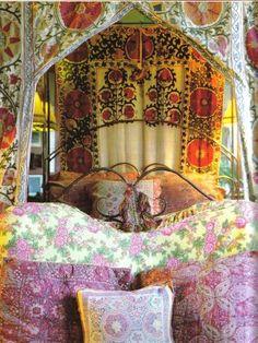 Gypsy: bedroom, from the apartment of Maxime de la Falaise. Bohemian Soul, Bohemian Living, Bohemian Design, Bohemian Decor, Bohemian Bedrooms, Ethnic Decor, Gypsy Living, Bohemian Tapestry, Gypsy Chic